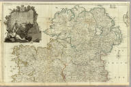 A map of the Kingdom of Ireland, divided into provinces, counties and baronies. (Northern section). Shewing the archbishopricks, bishopricks, cities, boroughs, market towns, villages, barracks, mountains, lakes, bays, rivers, bridges, ferries, passes, also the great, the branch & the by post roads together with the inland navigation, by J. Rocque, Chorographer to His Majesty. (London, printed for Robt. Sayer, opposite Fetter Lane, Fleet Street, 1790?)