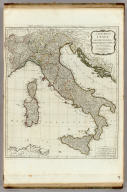 A new map of Italy with the islands of Sicily, Sardinia & Corsica. From Monsr. d'Anville: to which have been added the post roads and several other improvements. Carte de l'Italie, et de toutes ses routes de poste, a l'usage des voyageurs. London: printed for Robt. Sayer, Fleet Street, as the Act directs, June 1st 1790.