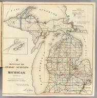 Sketch of the Public Surveys in Michigan. To accompany the annual Report of the Commissioner, Genl. Land Office. Department of the Interior, General Land Office, October 2nd 1866. Jo. S. Wilson, Commissioner. Bowen & Co. lith. Philada. (with) inset map of Isle Royale.