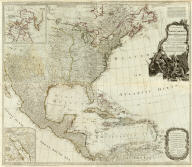 (Composite of) A new map of North America, with the West India Islands. Divided according to the Preliminary Articles of Peace, signed at Versailles, 20. Jan. 1783, wherein are particularly distinguished the United States, and the several provices, governments &ca. which compose the British Dominions, laid down according to the latest surveys, and corrected from the original materials, of Goverr. Pownall, Membr. of Parliamt., 1783. London, printed for Robt. Sayer, Map, Chart & Printseller, no. 53, Fleet Street, as the Act directs August 15th 1786.