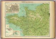 """France - north-western section. (with) Environs of Paris. (with) Le Havre. (with) Brest. The Edinburgh Geographical Institute, John Bartholomew & Co. """"The Times"""" atlas. (London: The Times, 1922)"""