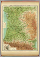 """France - south-western section. (with) Bordeaux. The Edinburgh Geographical Institute, John Bartholomew & Co. """"The Times"""" atlas. (London: The Times, 1922)"""