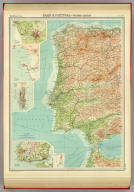 """Spain & Portugal - western section. (with Porto Region]. (with Cadiz Region). (with) Gibraltar. (with Lisboa Region). The Edinburgh Geographical Institute, John Bartholomew & Son, Ltd. """"The Times"""" atlas. (London: The Times, 1922)"""