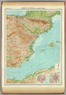 """Spain & Portugal - eastern section. (with Barcelona Region). (with Madrid Region). The Edinburgh Geographical Institute, John Bartholomew & Son, Ltd. """"The Times"""" atlas. (London: The Times, 1922)"""
