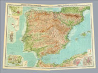 """(Composite of) Spain & Portugal - western, eastern section. (with Barcelona Region). (with Madrid Region). The Edinburgh Geographical Institute, John Bartholomew & Son, Ltd. """"The Times"""" atlas. (London: The Times, 1922)"""