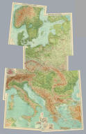 """(Composite of) Section maps of Central Europe. The Edinburgh Geographical Institute, John Bartholomew & Son, Ltd. """"The Times"""" atlas. (London: The Times, 1922)"""