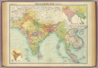 """India & Farther India - political. (with) Ethnographic sketch map. (with) Density of population. The Edinburgh Geographical Institute, John Bartholomew & Co. """"The Times"""" atlas. (London: The Times, 1922)"""