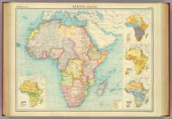 """Africa - political. (with) Races. (with) Density of population. (with) Mean annual rainfall. (with) Prevailing vegetation. The Edinburgh Geographical Institute, John Bartholomew & Son, Ltd. """"The Times"""" atlas. (London: The Times, 1922)"""