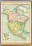 """North America - political. (with) Prevailing vegetation. The Edinburgh Geographical Institute, John Bartholomew & Co. """"The Times"""" atlas. (London: The Times, 1922)"""
