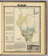 Illinois in 1822. (with view:) First State House of Illinois at Kaskaskia, the oldest town in the State). (Union Atlas Co., Warner & Beers, Proprietors. Lakeside Building Cor: of Clark & Adams Sts. Chicago. 1876. Entered ... 1876 by Warner & Beers ... Washington D.C.)