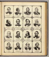 (Portraits of) Gustavus Koerner, Lyman Trumbull, Gen. U.S. Grant, Judge David Davis, Richard Edwards, Abraham Lincoln, Stephen A. Douglas, Gov. John L. Beveridge, Richard J. Oglesby, Wm. R. Morrison, John A. Logan, Shelby M. Cullom, Chas. W. Woodman, Thos. S. Ridgeway, Samuel M. Etter, Wm. G. Bowman. (Union Atlas Co., Warner & Beers, Proprietors. Lakeside Building Cor: of Clark & Adams Sts. Chicago. 1876. Entered ... 1876 by Warner & Beers ... Washington D.C.)