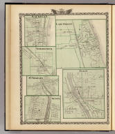 Lake Forest. (with) Elgin. (with) Waukegan. (with) Woodstock. (with) St. Charles. (with) Geneva. (Union Atlas Co., Warner & Beers, Proprietors. Lakeside Building Cor: of Clark & Adams Sts. Chicago. 1876. Entered ... 1876 by Warner & Beers ... Washington D.C.)