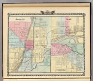 Joliet. (with) Peru. (with) Freeport. (Union Atlas Co., Warner & Beers, Proprietors. Lakeside Building Cor: of Clark & Adams Sts. Chicago. 1876. Entered ... 1876 by Warner & Beers ... Washington D.C.)