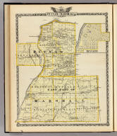 Map of Putnam and east part of Marshall counties. (with) Hennepin. (Union Atlas Co., Warner & Beers, Proprietors. Lakeside Building Cor: of Clark & Adams Sts. Chicago. 1876. Entered ... 1876 by Warner & Beers ... Washington D.C.)