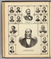 (Portraits of) Dr. Robert Hunter, Aaron G. Cloud, La Fayette Twitchell, Wm. S. Morris, Jacob Strawn, Robt. B. Rutherford, Eilsha Gridley, Josiah Burrett, J.N. Ledbetter, Joseph Shetler, M.M. Pool, Wm. J. Boyd, R.J. McGinnis, J.H.B. Renfro, Wm. H. Boyer, Capt. L.W. Cremeens. (Union Atlas Co., Warner & Beers, Proprietors. Lakeside Building Cor: of Clark & Adams Sts. Chicago. 1876. Entered ... 1876 by Warner & Beers ... Washington D.C.)