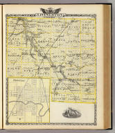 Map of Livingston County. (with) Pontiac. (Union Atlas Co., Warner & Beers, Proprietors. Lakeside Building Cor: of Clark & Adams Sts. Chicago. 1876. Entered ... 1876 by Warner & Beers ... Washington D.C.)