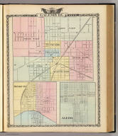 Map of Galesburg City. (with) Monmouth. (with) Aledo. (Union Atlas Co., Warner & Beers, Proprietors. Lakeside Building Cor: of Clark & Adams Sts. Chicago. 1876. Entered ... 1876 by Warner & Beers ... Washington D.C.)