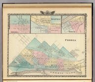 Peoria. (with) Oneida. (with) Knoxville. (with) Dallas. (Union Atlas Co., Warner & Beers, Proprietors. Lakeside Building Cor: of Clark & Adams Sts. Chicago. 1876. Entered ... 1876 by Warner & Beers ... Washington D.C.)