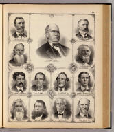 (Portraits of) George S. Park, James Gaines, Omar H. Wright, Daniel Penoyer, Luther W. Lawrence, Granville Lowther, Capt. Wm. Haws, H.J. Swindler, Charles E. Fuller, Thomas McCord, John Haws, Joel Haws, Hiram P. White. (Union Atlas Co., Warner & Beers, Proprietors. Lakeside Building Cor: of Clark & Adams Sts. Chicago. 1876. Entered ... 1876 by Warner & Beers ... Washington D.C.)