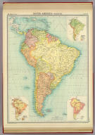 """South America - political. (with) Prevailing vegetation. (with) Density of population. (with) Races. The Edinburgh Geographical Institute, John Bartholomew & Son, Ltd. """"The Times"""" atlas. (London: The Times, 1922)"""