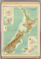 """New Zealand. (with Auckland Region). (with Wellington Region). (with Christchurch Region). (with Dunedin Region). The Edinburgh Geographical Institute, John Bartholomew & Co. """"The Times"""" atlas. (London: The Times, 1922)"""