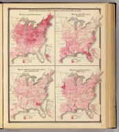 United States vitality maps. Compiled from the Census of 1870. Deaths from consumption. Deaths from malarial diseases, deaths from enteric, cerebro-spinal and typhus fevers. Deaths from intestinal diseases. Copyright 1877, by Syder Van Vechten & Co. (Compiled and published by Snyder, Van Vechten & Co., Milwaukee. 1878)