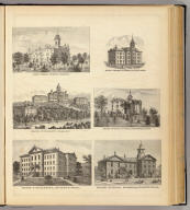 State Normal School, Oshkosh (drawn by) Salisku. (with) State Normal School, River Falls. (with) State University, Madison. (with) State Normal School, Whitewater, Wis. (with) State University, Science Hall. (with) State Normal School, Platteville. The Milwaukee Litho. & Engr. Co. (Compiled and published by Snyder, Van Vechten & Co., Milwaukee. 1878)