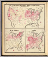 These maps show amount of products raised in proportion to population and acres of improved land in 1870. Wheat. Dairy Products. Corn. Copyright 1877, by Syder Van Vechten & Co. (Compiled and published by Snyder, Van Vechten & Co., Milwaukee. 1878)