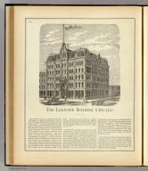 The Lakeside Building, Chicago. (Union Atlas Co., Warner & Beers, Proprietors. Lakeside Building Cor: of Clark & Adams Sts. Chicago. 1876. Entered ... 1876 by Warner & Beers ... Washington D.C.)