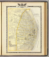 Map of St. Louis City. Copyright 1872 by R.A. Campbell. (Union Atlas Co., Warner & Beers, Proprietors. Lakeside Building Cor: of Clark & Adams Sts. Chicago. 1876. Entered ... 1876 by Warner & Beers ... Washington D.C.)