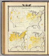 These maps show amount of products raised in proportion to population and acres of improved land in 1870. Wheat. Hay. Corn. (Union Atlas Co., Warner & Beers, Proprietors. Lakeside Building Cor: of Clark & Adams Sts. Chicago. 1876. Entered ... 1876 by Warner & Beers ... Washington D.C.)