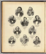 (Portraits of) Peter Doyle, ex Sec'y. of State, Ferdinand Kuehn, ex State Treasurer, Edward Searing, ex Superintendent of Public Instruction, T.C. Chamberlin, State Geologist, A. Scott Sloan, ex Attorney General, Lyman C. Draper, Secretary, State Historical Society, P.R. Hoy, President, Wisconsin Academy of Science, Arts and Letters, Levi B. Vilas, David Atwood, editor & proprietor, Wisconsin State Journal, Thad. C. Pound, members (sic) of Congress. (Compiled and published by Snyder, Van Vechten & Co., Milwaukee. 1878)