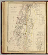Palestine in the time of Our Saviour. By W. Hughes, Prof. Geogr(aph)y, Coll. for Civ. Engrs. (with) Plan showing the probable extent of ancient Jerusalem. Published under the superintendence of the Society for the Diffusion of Useful Knowledge. (Engraved by) W. Hughes, 1842. London, published Jany. 10th. 1843 by Chapman & Hall, 186, Strand (1844)