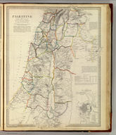 Palestine with the Hauran and the adjacent districts By W. Hughes, Prof. Geogr(aph)y, Coll. for Civ. Engrs. (with) Modern plan of Jerusalem. Published under the superintendence of the Society for the Diffusion of Useful Knowledge. (Engraved by) W. Hughes, 1843. London, published April 15th. 1843 by Chapman & Hall, 186, Strand (1844)