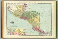 Rand, McNally & Co.'s indexed atlas of the world map of Central America. (with) Map showing proposed line of Nicaragua Canal. Copyright 1892, by Rand, McNally & Co. ... Engravers, Chicago, (1897)