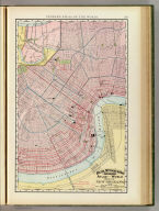 Rand, McNally & Co.'s indexed atlas of the world map of New Orleans. Rand, McNally & Co's New business atlas map of New Orleans. Copyright, 1892, by Rand, McNally & Co. (Chicago, 1897)