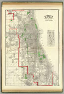 Rand, McNally & Co.'s indexed atlas of the world street guide map of Chicago. Rand, McNally & Co's map of Chicago and suburbs. Copyright, 1890 by Rand, McNally & Co. (Chicago, 1897)