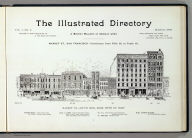 (Title Page to) The illustrated directory, a monthly magazine of American cities. Published by the Hicks-Judd Co. Copyright 1895, by Eli S. Glover. Vol 1, no. 4. March, 1895. Market St., San Francisco, continuous from Fifth St. to Tenth St. (with view) Market St. - south side - from Fifth St. west.