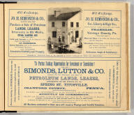 "Oil Exchange. Jo. H. Simonds & Co. ... General agents for F.W. Beers & Co.'s ""Atlas of the oil regions."" To parties seeking opportunities for investment or speculation! Simonds, Lutton & Co. ... (Entered ... 1865 ... Southern District of New York by F.W. Beers & Co. Ferd. Mayer & Co. Lithographers, 96 Fulton St., N.Y.)"