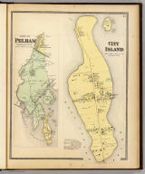 City Island, Pelham Township, Westchester Co., N.Y. (with) Town of Pelham, Westchester Co., N.Y. (Atlas of New York and vicinity ... by F.W. Beers ... published by Beers, Ellis & Soule, New York, 1868)