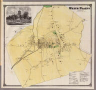 White Plains, Westchester Co., N.Y. (with view) Court House at White Plains, Westchester Co., N.Y. (Atlas of New York and vicinity ... by F.W. Beers ... published by Beers, Ellis & Soule, New York, 1868)