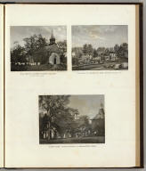 """Old Dutch Church, """"Sleepy Hollow,"""" erected 1699. Photograph by Rockwood & Co. Residence of A.S. Baylis, Esqr., Bedford Village, N.Y. R.K. Sneden, del. """"Sunny Side"""" former residence of Washington Irving. Photograph by Rockwood & Co. (all) Heliographic Engr. Co., N.Y. (Atlas of New York and vicinity ... by F.W. Beers ... published by Beers, Ellis & Soule, New York, 1868)"""