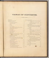 (Contents to) Atlas of New York and vicinity from actual surveys by and under the direction of F.W. Beers, assisted by A.B. Prindle & others. (2nd Westchester County ed.) Published by F.W. Beers, A.D. Ellis & G.G. Soule. Assistants F.S. Fulmer, W.T. Comstock, A.M., A.J. Bingham, W.S. Roe, J.A. Cline. 95 Maiden Lane, New York. 1868. Entered ... 1868 by Beers, Ellis & Soule ... New York. Engd. by Worley & Bracher, 320 Chestnut St. Philada. Printed by James McGuigan, Cor. 3d & Dock Sts. Phila.
