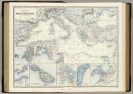 Basin of the Mediterranean by Keith Johnston, F.R.S.E. (with) Marseille. (with) Genova, Genoa. (with) Gibraltar. (with) Maltese Islands. (with) Trieste. (with) Valetta. (with) Venezia, Venice. (with) Alexandria. Engraved & printed by W. & A.K. Johnston, Edinburgh. William Blackwood & Sons, Edinburgh & London, (1861)