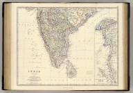 India, southern sheet, by Keith Johnston, F.R.S.E. (with) South-eastern provinces of India, Hindu-Chinese countries or Further India. Engraved & printed by W. & A.K. Johnston, Edinburgh. William Blackwood & Sons, Edinburgh & London, (1861)