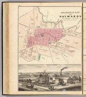 Boardman map of Haywards, Alameda Co., Cal. (with view) Residence and tannery of G.F. Crist, Brooklyn, Alameda County, California. (Published by Thompson & West, Oakland, Cala., 1878)