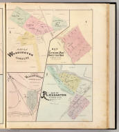 Map of Washington Corners. Map of Haywards Park Homestead Union, Alameda co., Cal. Niles or Vallejo Mills, Alameda Co., Cal. Map of Pleasanton, Alameda Co., Cal. (Published by Thompson & West, Oakland, Cala., 1878)