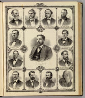 (Portraits of) Cyrus C. Carpenter, Governor, W.M. Stone, Chester C. Cole, William E. Miller, John F. Dillon, Josiah T. Young, Caleb Baldwin, Oliver Mills, Alonzo Abernethy, David Secor, H.O. Pratt, B.F. Gue, G.F. Magoun. Chas. Shober & Co. props. Chicago Litho. Co. (Published by the Andreas Atlas Co., Lakeside Building, Chicago, Ills. Engraved & printed by Chas. Shober & Co., Props. of Chicago Lithographing Co.)