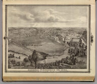 Decorah, Winnesheik Co., Iowa, from bluff over the ice cave. Chas Shober & Co., props., Chicago Lith. Co. (Published by the Andreas Atlas Co., Lakeside Building, Chicago, Ills. Engraved & printed by Chas. Shober & Co., Props. of Chicago Lithographing Co.)