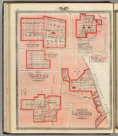 Plan of Cresco, Howard Co. (with) Plan of Butler Centre ... Butler Co. (with) Plan of Waukon ... Allamakee Co. (with) Plan of Mason City ... Cerro Gordo Co. (with) Plan of the City of Lansing ... Allamakee Co. Chas. Shober & Co., props., Chicago Lith. Co. (Published by the Andreas Atlas Co., Lakeside Building, Chicago, Ills. Engraved & printed by Chas. Shober & Co., Props. of Chicago Lithographing Co.)